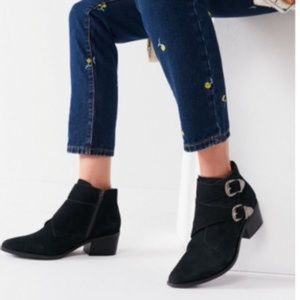Urban Outfitters Talia Suede Buckle Ankle Boots